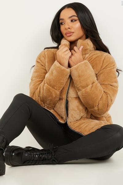 Camel Faux Fur Padded Jacket